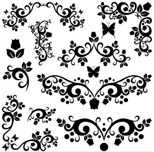 Floral Ornament Elements Mix 24 vector