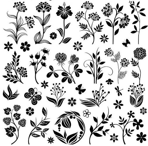 Floral Ornament Elements Mix 25 vector design