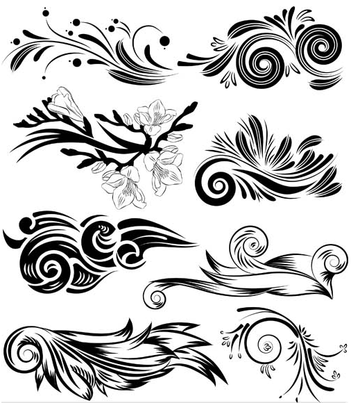 Floral Ornament Elements Mix 6 set vector