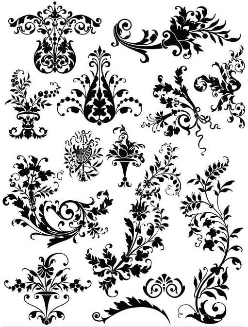 Floral Ornament Elements Mix 8 vector material