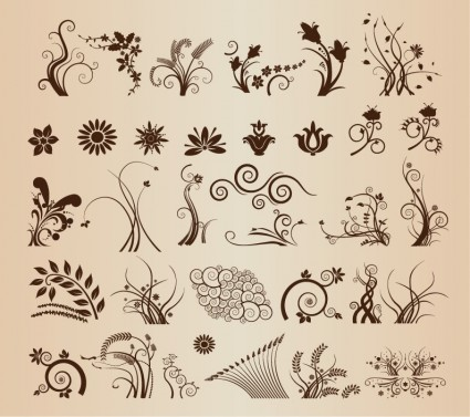 Floral Ornamental Elements for Design vector