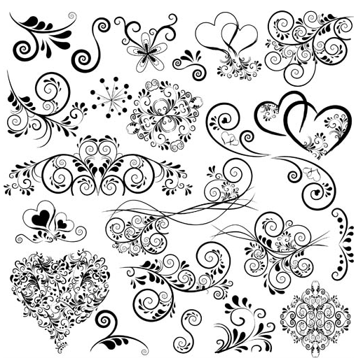 Floral Ornaments Elements 4 vectors graphic