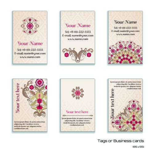 Floral business card 1 vectors