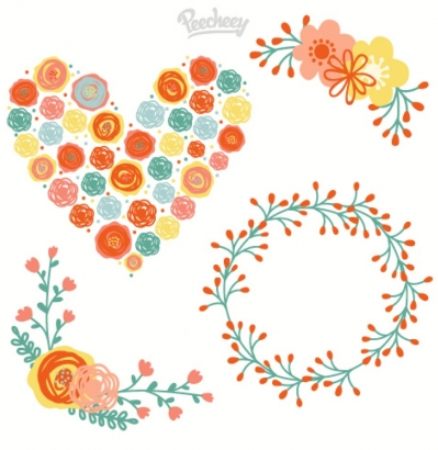 Floral elements illustration Free vector