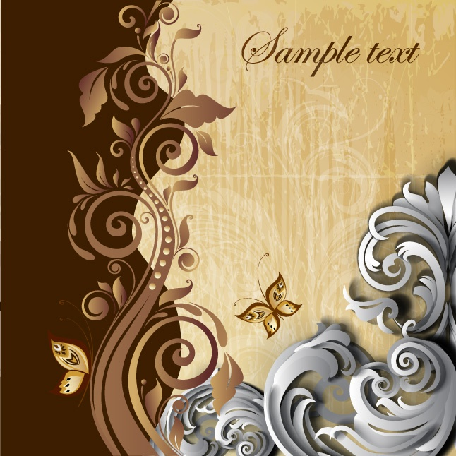 Floral swirl with butterfly background design vectors
