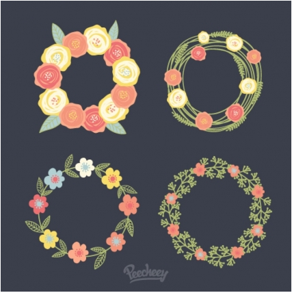Floral wreath illustration Free vector