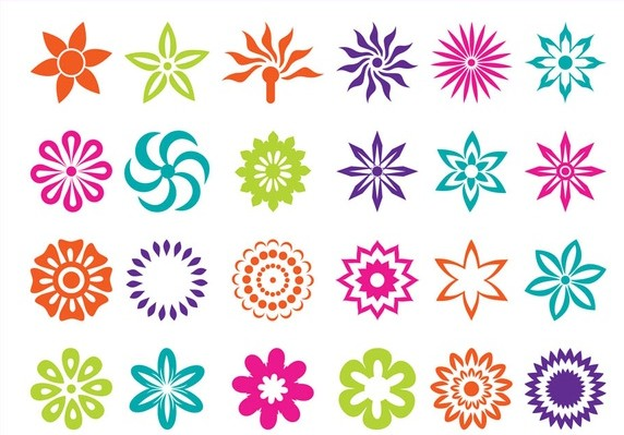 Flower Blossoms Icons art vectors graphic