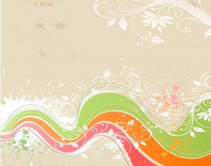 Flower Grunge Background set vector