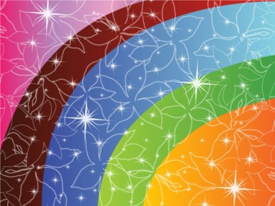 Flower Stars and Rainbows background vector