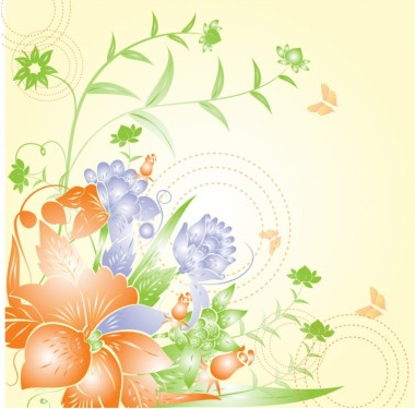Flower background art vector material