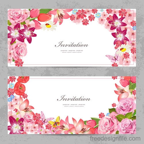 Flower vintage invitation card template vector 01