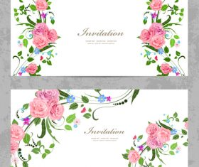 Flower vintage invitation card template vector 02