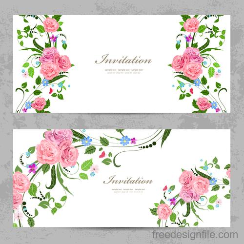 Flower vintage invitation card template vector 02