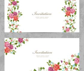 Flower vintage invitation card template vector 03