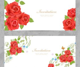 Flower vintage invitation card template vector 04