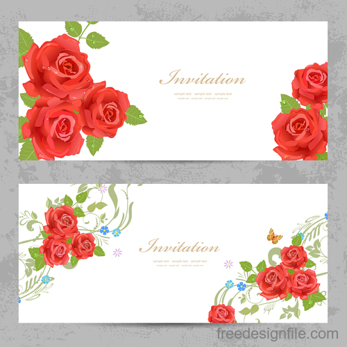 Flower vintage invitation card template vector 04