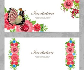 Flower vintage invitation card template vector 05