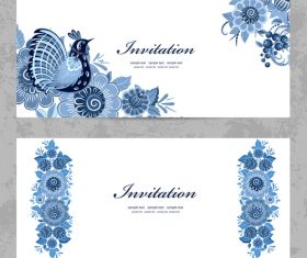 Flower vintage invitation card template vector 06