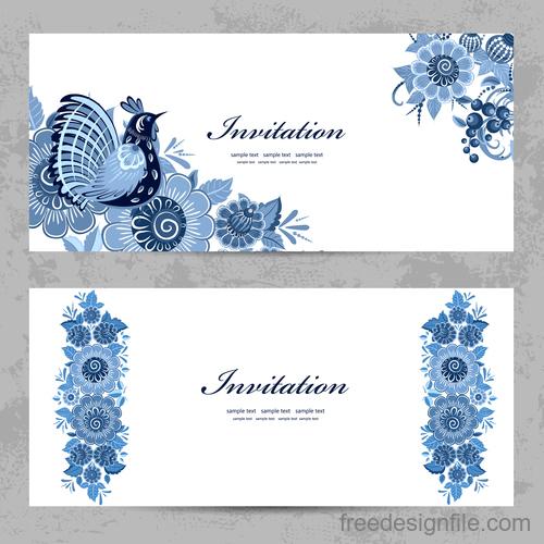Flower vintage invitation card template vector 06