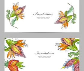 Flower vintage invitation card template vector 07