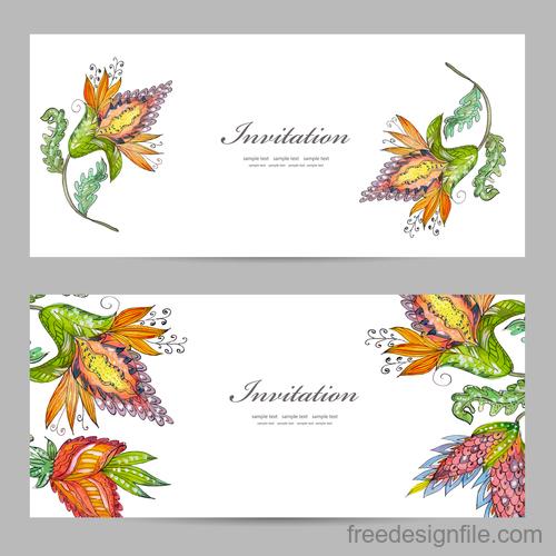 Flower vintage invitation card template vector 07
