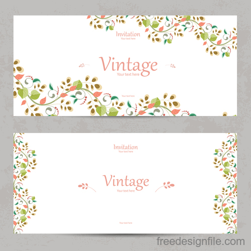 Flower vintage invitation card template vector 08