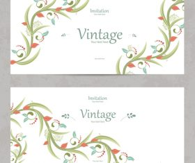 Flower vintage invitation card template vector 09