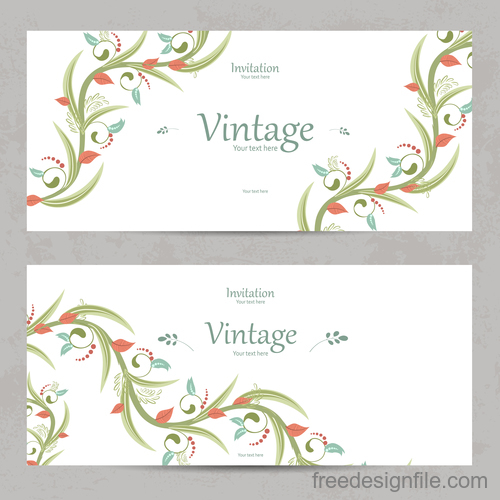 Flower vintage invitation card template vector 09