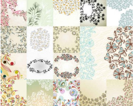 Flowers Pattern background Vector 04 vector material