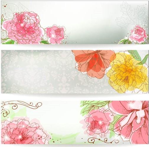 Flowers Pink Banners vectors