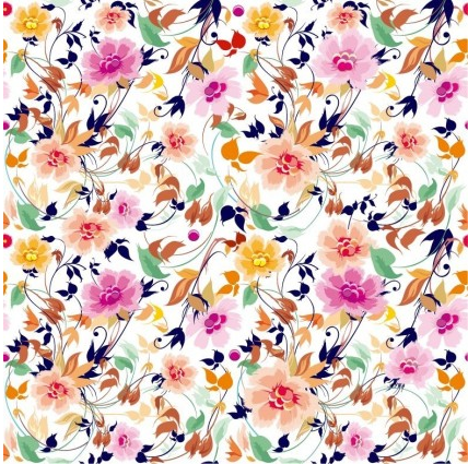 Flowers Seamless Pattern Element set vector