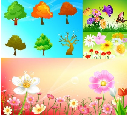 Flowers and trees butterflies vectors