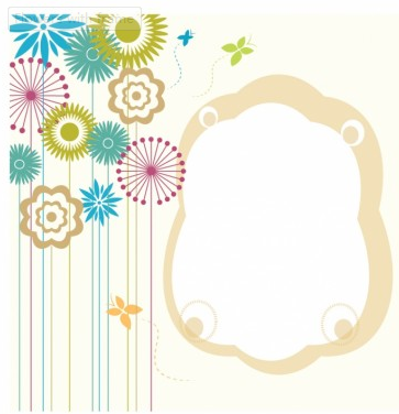 Flowers with frame free Illustration vector