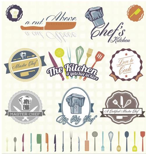 Food Bright Labels art vector