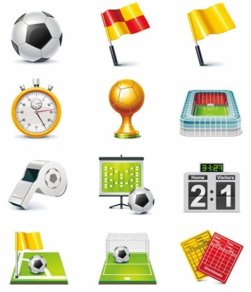 Football Match Icon set vector