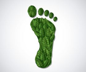 Footprint with green leaves vector illustration 01