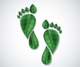 Footprint with green leaves vector illustration 02