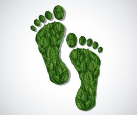 Footprint with green leaves vector illustration 03