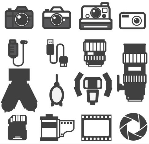 Foto Black Icons art vector