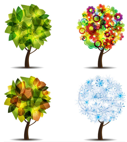 Four Seasons Trees vectors material