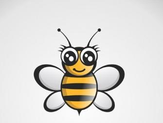 Free Bee Logo Black Gold shiny vector
