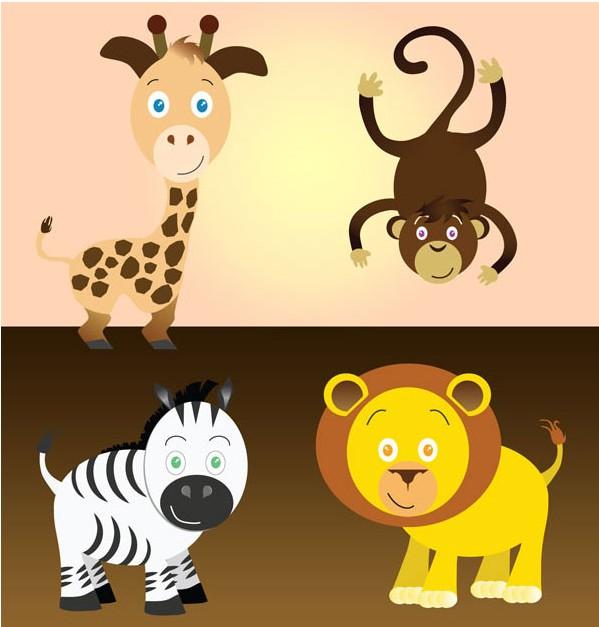 Free Cartoon Safari Animals Art vectors material