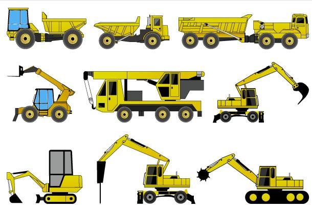 Free Construction Machines Illustrator Pack 2 vector