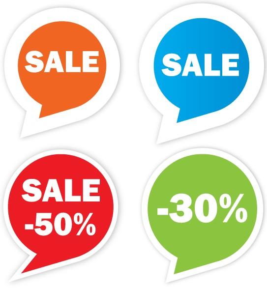 Free Sale Sticker Set vectors graphics