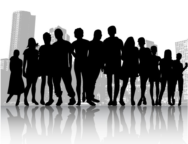Free Crowd People in City vector set
