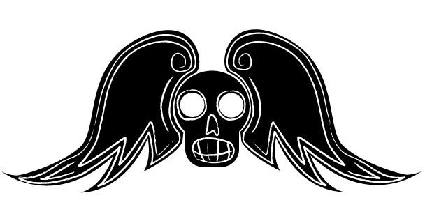 Free Winged Skull Art shiny vector