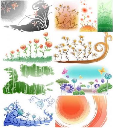 Fresh flowers handpainted background 01 vector