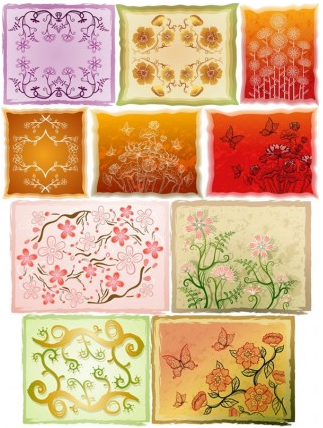 Fresh flowers handpainted background 04 vectors