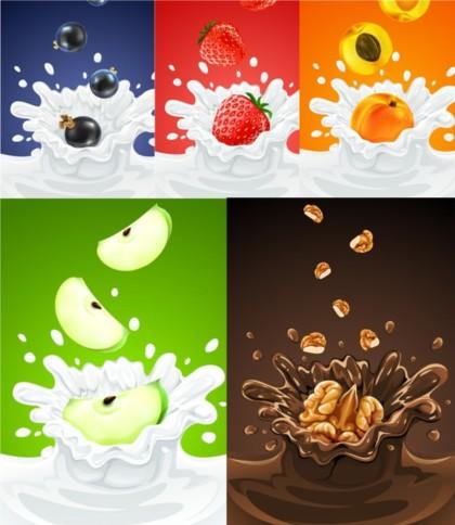 Fruit and milk vector