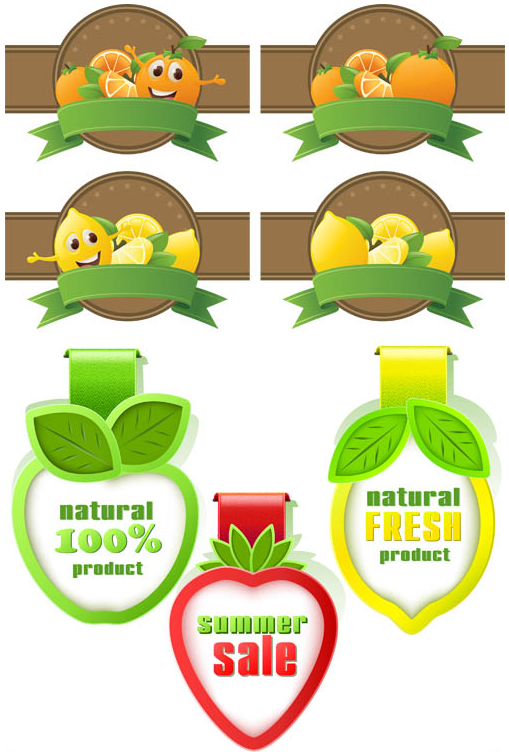 Fruits Labels free creative vector